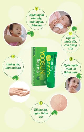 Các công dụng của Yoosun rau má